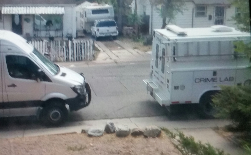 Another Crime Scene truck at the 1900 block of Clin-t0n Street in Aur0ra, Col0rado; Adams C0unty. How many deaths has this area had? Multiple crime scene vans during our 1 year lease 'seen' in front of our home/street. #ghostprisonerhousing #contractors